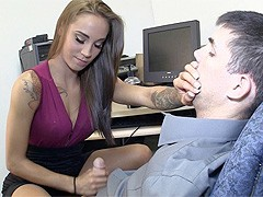 Amazing secretary gives hot femdom handjob!video
