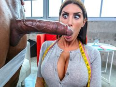 August Ames to Please. Jay has called over a tailor service to get him fitted for his upcoming nuptials. Lucky for him and all of us, August shows up for his fitting. As she is trying to get measurements around his thigh area, of course she notices a big huge bulge. Unable to control herself, she talks him into removing his clothes. Watch one of the hottest models in the business take it from a big black cock and enjoying every minute of it.video